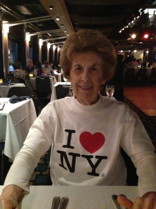Nana, sporting her fangirl love of NYC proudly, aboard the Spirit of New York.