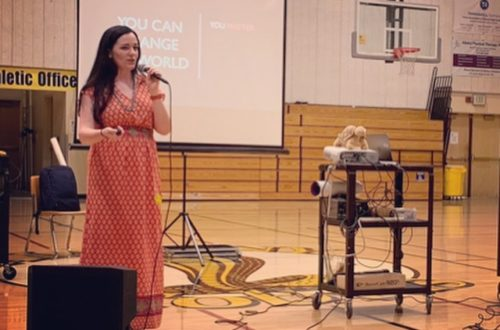 Speaking to a gymnasium of 6th and 7th graders in Oakland, CA
